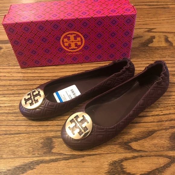 56c447be80d0 Nwt Tory Burch Quilted Minnie Malbec Ballet Flats